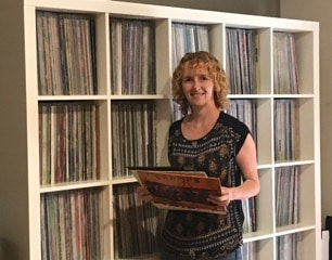 Sharon Daniel with her record collection